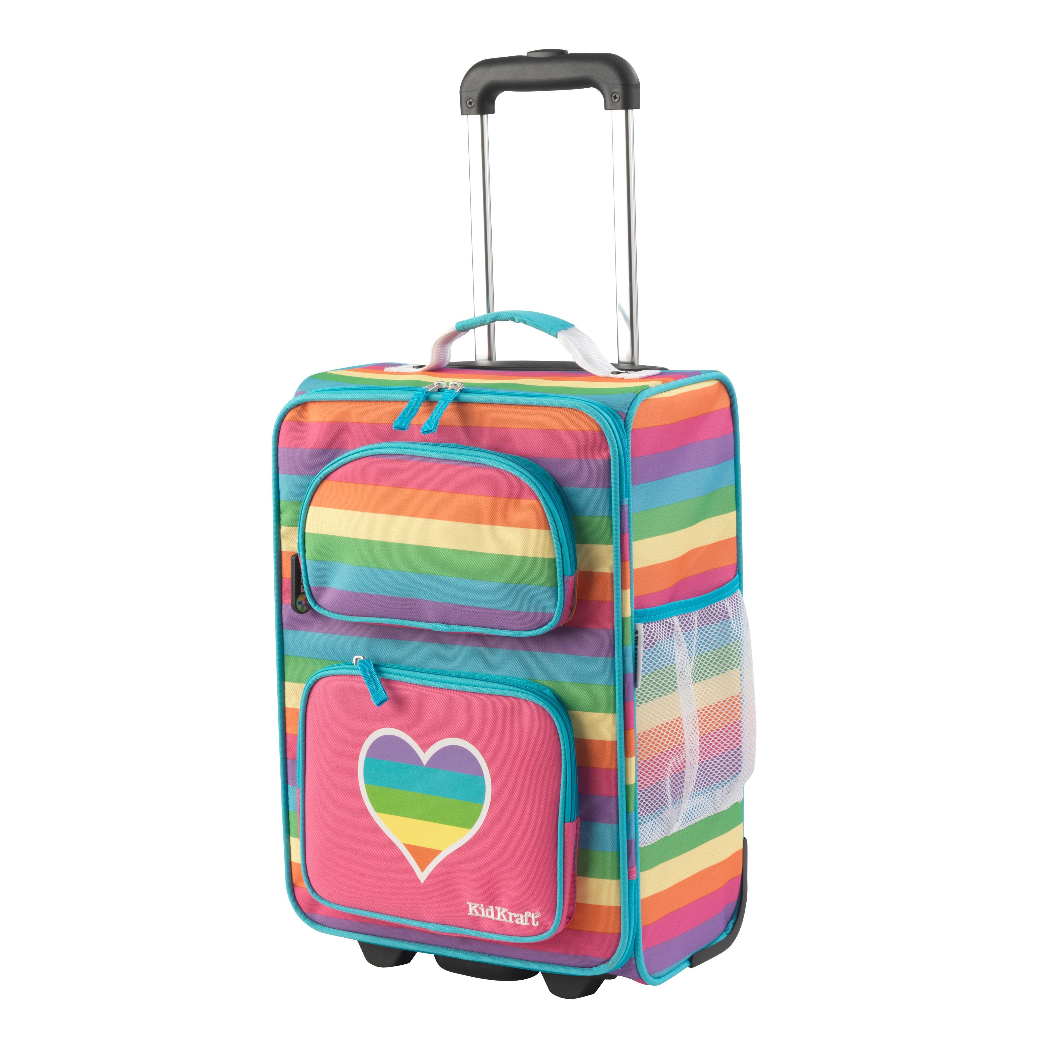 36a0c442ee Kid Kraft Rainbow Polyester 18-inch Rolling Suitcase