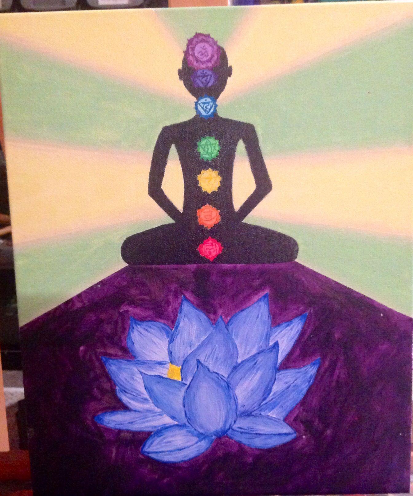 BUDDHIST LOTUS CHAKRAS MEDITATION Painting Illustration Canvas art Prints