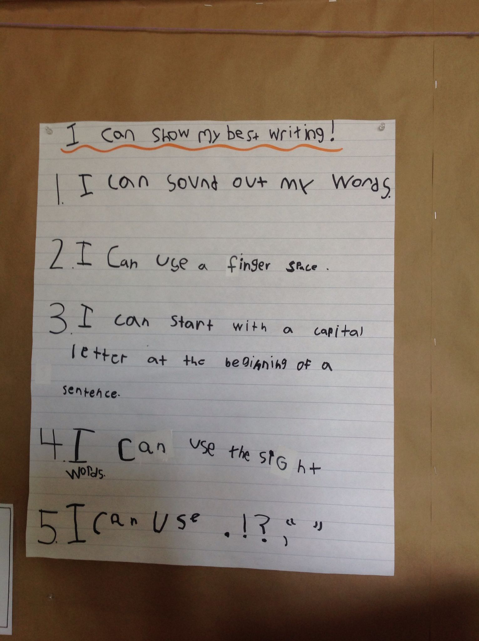 I Can Show My Best Writing Success Criteria