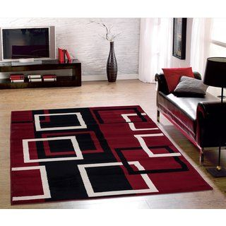 Sweet Home Modern Circles Red Area Rug 5 X 7 17358222