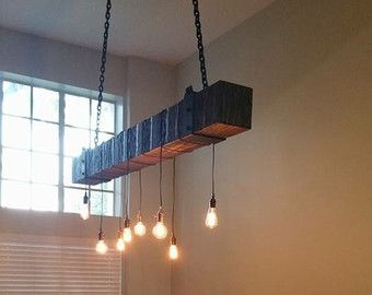 Reclaimed Wood Beam Chandelier With Edison Bulbs Latest Project By Fama Creations Custom Woodworking In Orlando Tampa And Miami Fl