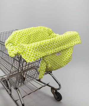 The Shop It fits all standard shopping carts and easily folds into bags for easy, safe and germ-free shopping with Baby! Free of BPA, phthalates, lead, cadmium and printed with organic ink, it's a pretty, functional and eco-friendly choice. Machine-washable fabric allows for easy cleanups wherever your shopping spree may take you!