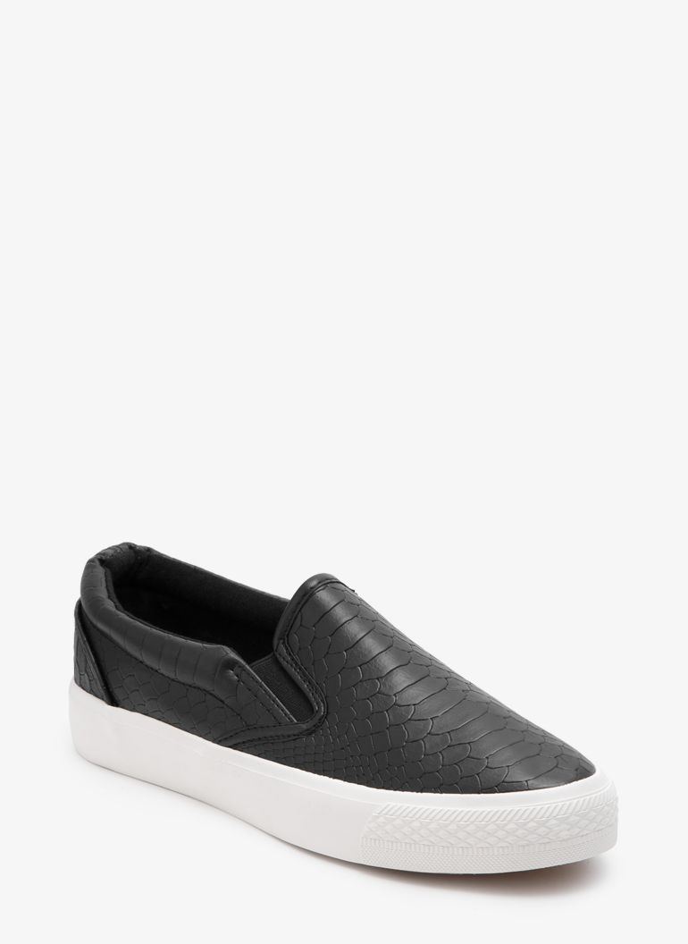 Marie Black Snake Slip On
