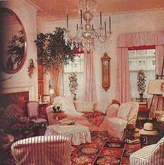 sister parrish the great designer in her pink and white striped home elegant - Sister Parrish