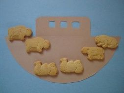 Noah's ark with animal crackers and ark paper placemat