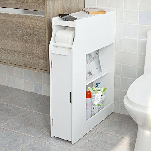 SoBuy® White Bathroom Cabinet, Toilet Paper Roll Holder,