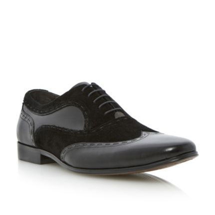 DUNE MENS Black AMBROSE - Mixed Suede And Leather Brogue Detail Formal Shoe  By Dune Shoes