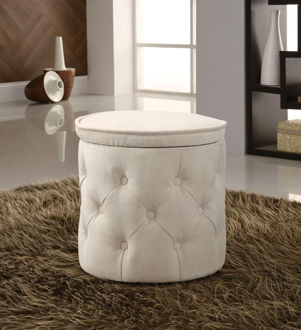 Modern beige circular storage ottoman chenille fabric garibay