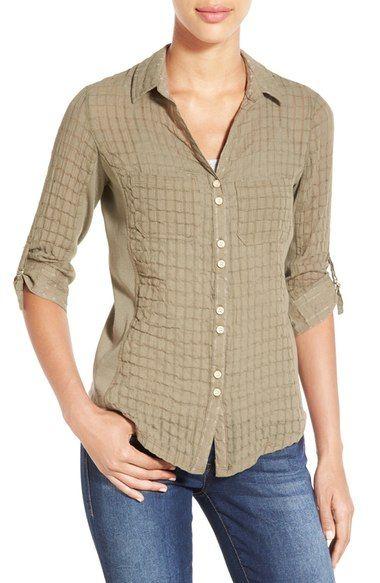 Wit & Wisdom Three Quarter Sleeve Textured Gauze Shirt (Nordstrom Exclusive)…