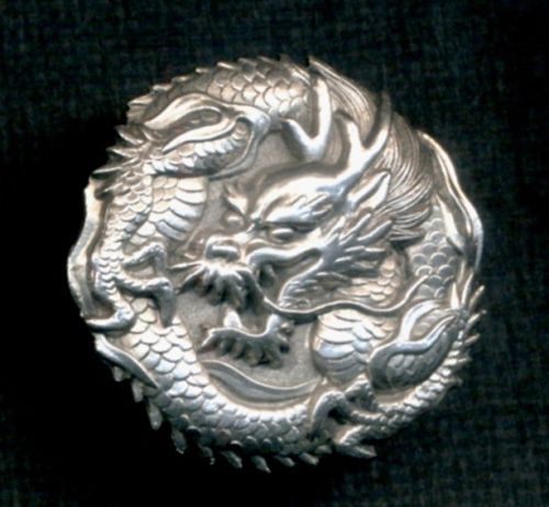 Japanese Silver Dragon Button Realistic Asian Intricatly Detailed Sterling | eBay