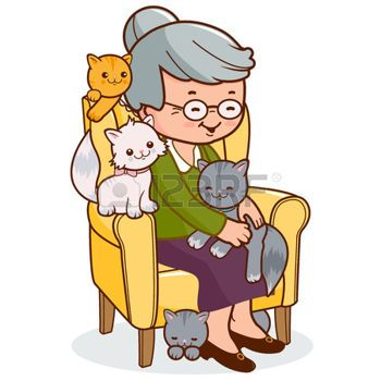 Old Ladies With Pets Old Woman Sitting In Armchair With