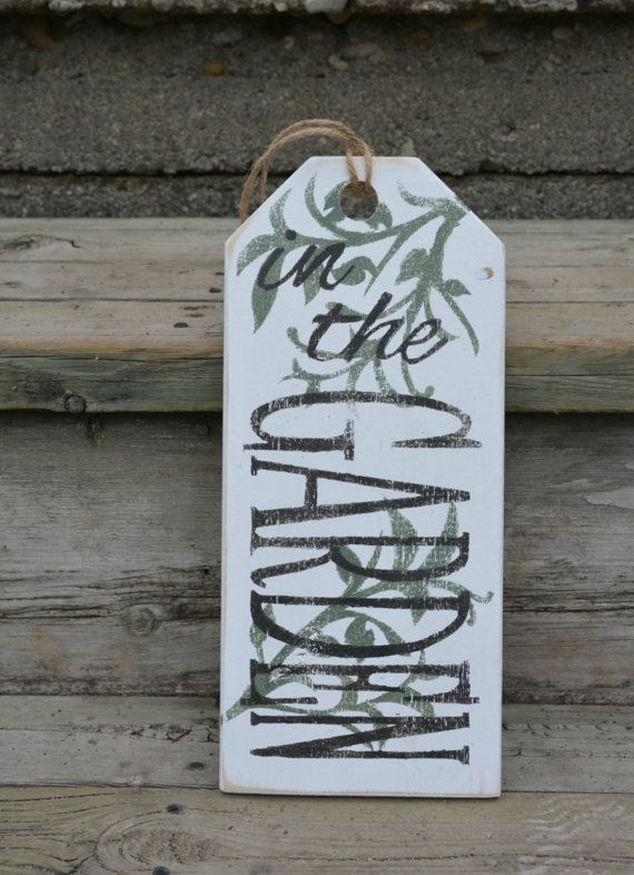 In The Garden Sign Cottage Sign Large Wooden Tag Front Door Decor