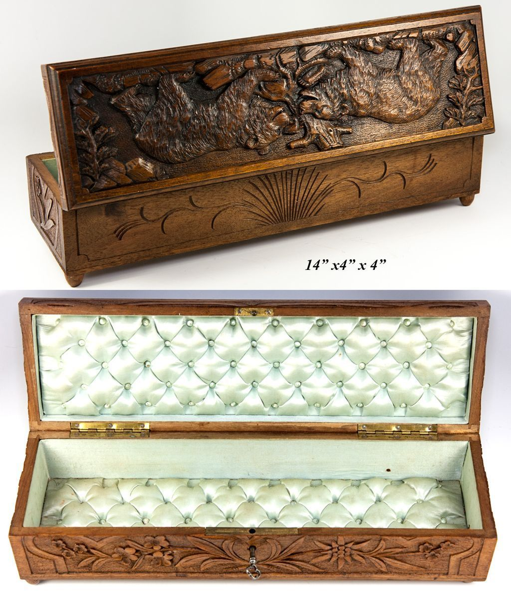 Antique Hand Carved Black Forest Jewelry Or Glove Box Casket With Bears 14 Wood Jewelry Box Old Wooden Boxes Casket