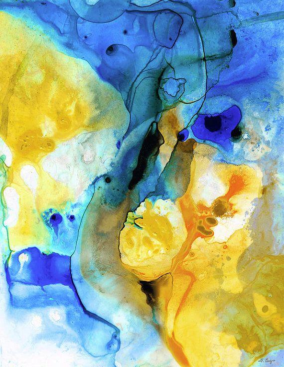 abstractart #yellowandblue Yellow and Blue abstract art PRINT by ...