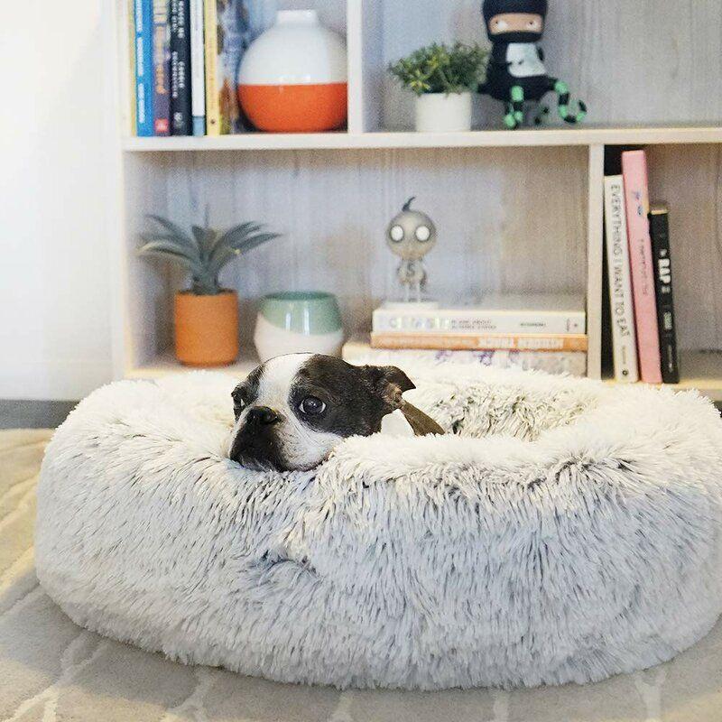 HongYH Winter Cat Bed Round Donut Fleece Pet Cushion Oval