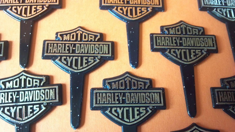 Harley Davidson Cupcake Pick Or Cake Topper Harley Logo Silver On