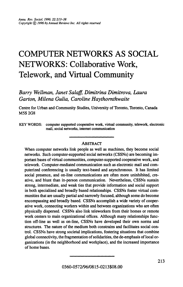 Computer Networks as Social Networks: Collaborative Work, Telework ...