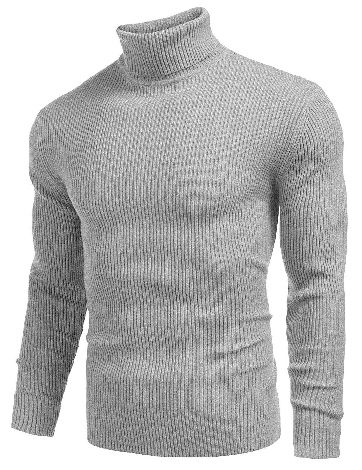 FRPE Men Pullover Long Sleeve Knit Turtleneck Warm Solid Sweater