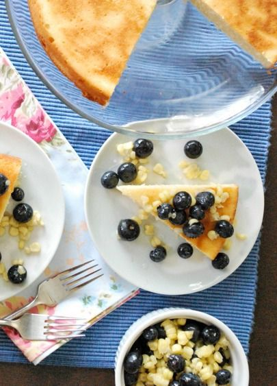 Learn how to make this delicious corn cake with blueberries for a healthier spring holiday dessert recipe.