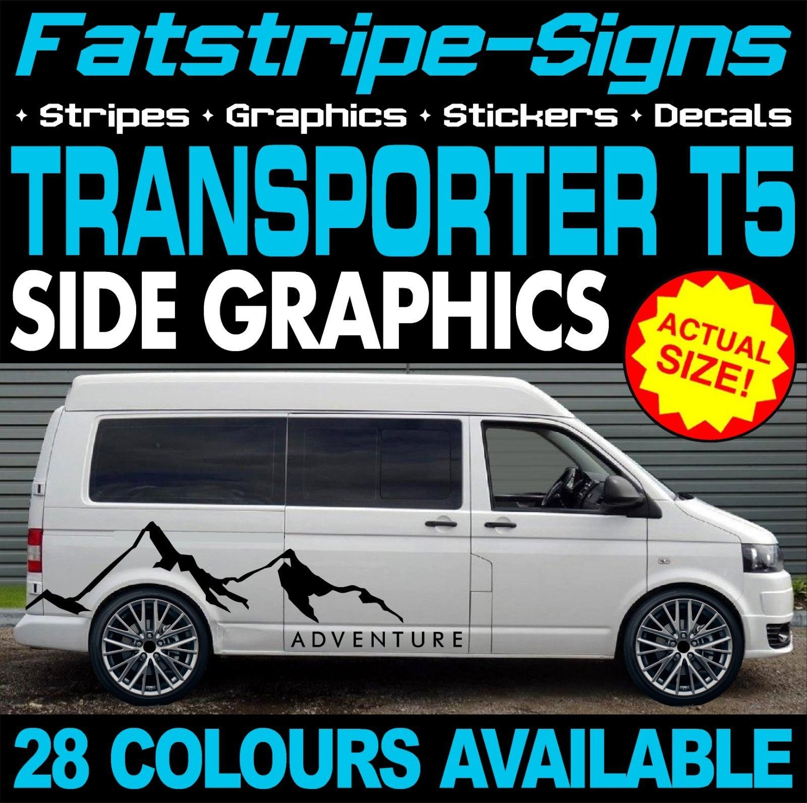 Vw transporter t5 graphics stickers stripes decals day van camper vdub swb lwb ebay