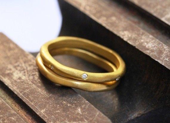 Ring  18k Yellow Gold and Diamonds Wedding Set by AurumJewelry, $780.00
