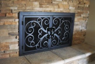 Centuries Ago Iron Fireplace Doors   For Our Outdated Fireplace