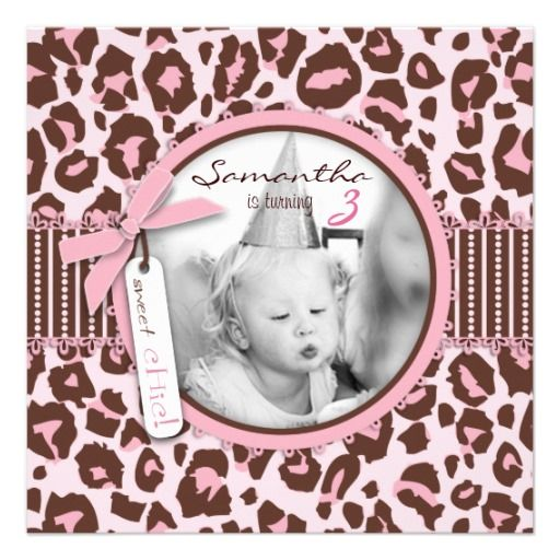 Cheetah Print Photo Template Birthday Announcements