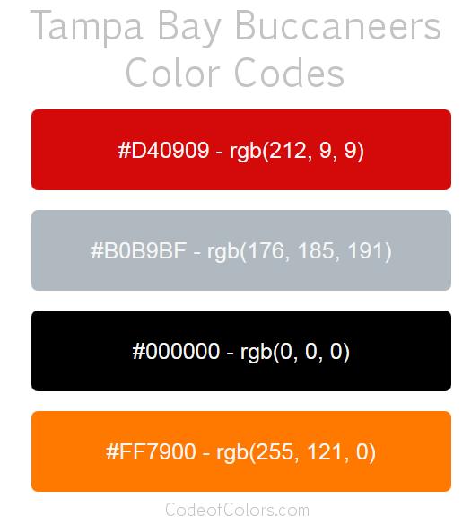Tampa Bay Buccaneers Team Color Codes Color Coding Color Ottawa Senators