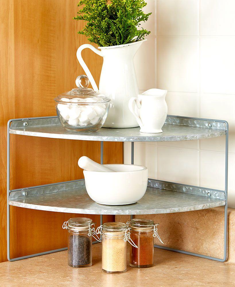 Galvanized Kitchen Counter Shelves Kitchen Organization Kitchen Rack Kitchen Counter Decor