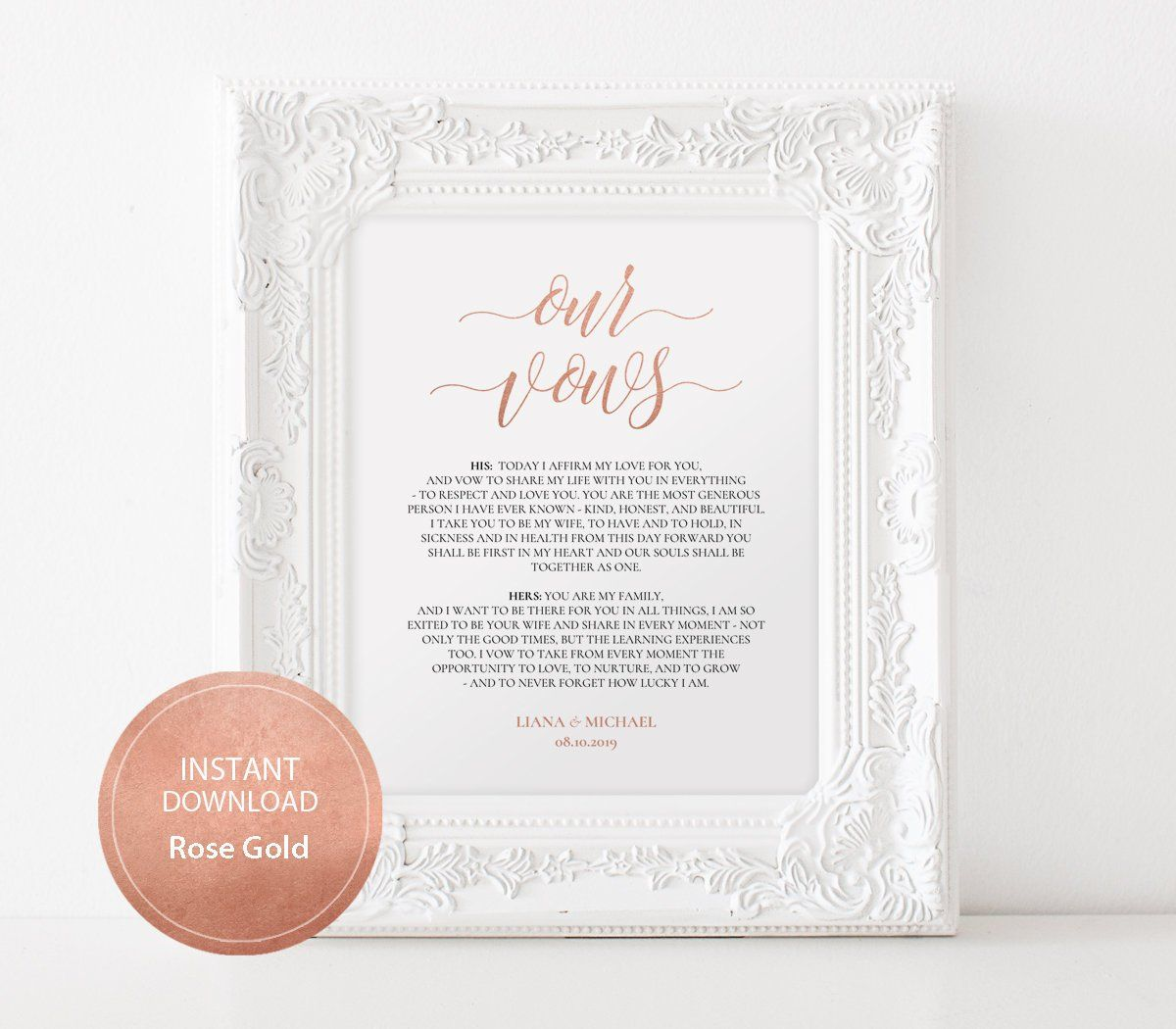 Editable Pdf Template 8x10 Our Vows Sign Instant Download Calligraphy Wedding Wall Art Weddin Wedding Signs Wedding Reception Signs Signature Cocktails Wedding