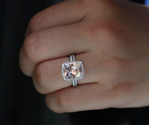 Large Cushion Morganite Engagement Ring Morganite Wedding Ring Set White  Gold Morganite Cushion And Diamond Bridal Ring Set