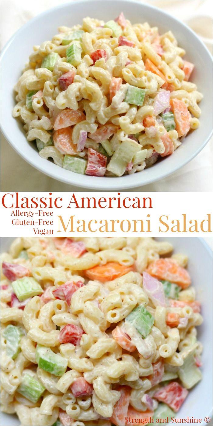 Classic American Macaroni Salad Gluten Free Vegan Recipe Macaroni Salad Gluten Free Sides Dishes Macaroni Salad Recipe