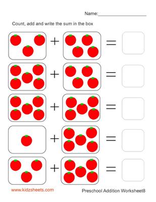 Kidz Worksheets Preschool Addition Worksheet8 Kids Math Worksheets Preschool Math Worksheets Kindergarten Math Worksheets Free