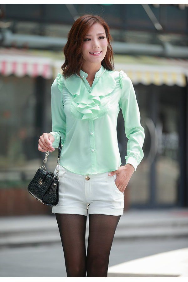Las Blouse Fashion Fl Casual Dress Shirt Tops Long Sleeve