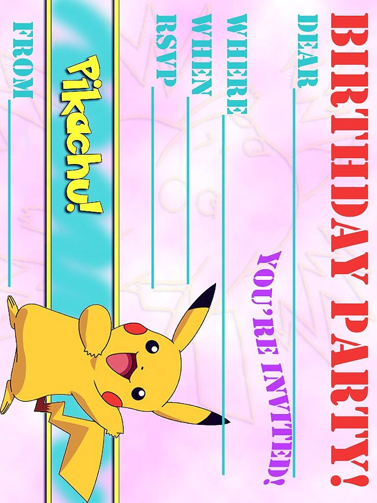 POKEMON COLORING PAGES FREE PIKACHU PARTY INVITATION Cj