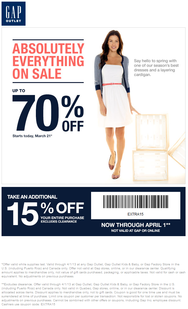 Extra 15% off the tab at Gap Outlet locations coupon via The Coupons ...