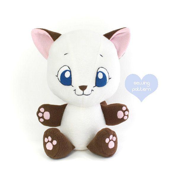 Plush Sewing Pattern Pdf Cat Stuffed Animal Easy Cute Kitten