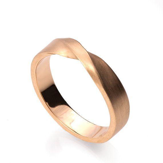 Mobius Ring 18k Rose Gold Ring Wedding Ring Gold Wedding Ring Wedding Band Twisted Wedding Bague Or Blanc Anneaux De Mariage En Or Blanc Bague