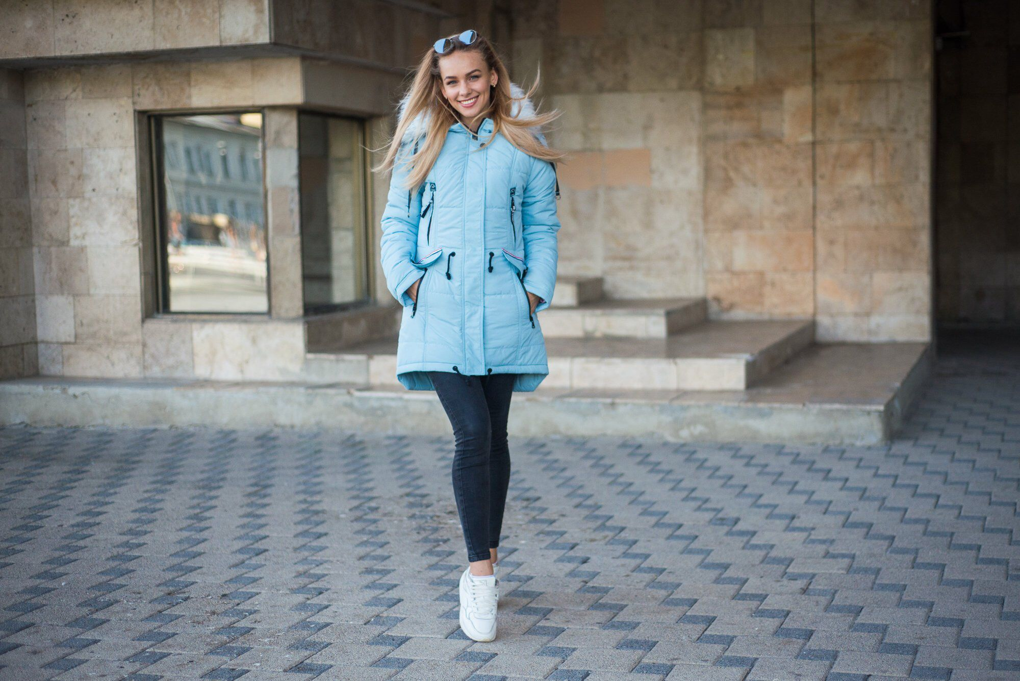 Sky Blue Puffer Parka Plus Size Long Winter Warm Jacket Faux Fur Hooded Fluffed Down Coat Casual Wear Grunge Aesthetic Clothing Blue Puffer Clothes Jackets [ 1335 x 2000 Pixel ]