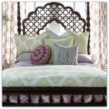Gorgeous headboard, fabric and textures