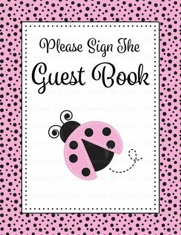 Baby Shower Guest List Set - Printable Download - Pink Black - printable baby shower guest list