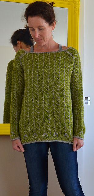 Ravelry: lizoid\'s green herringbone | Knitted Long Sleeve Pullovers ...