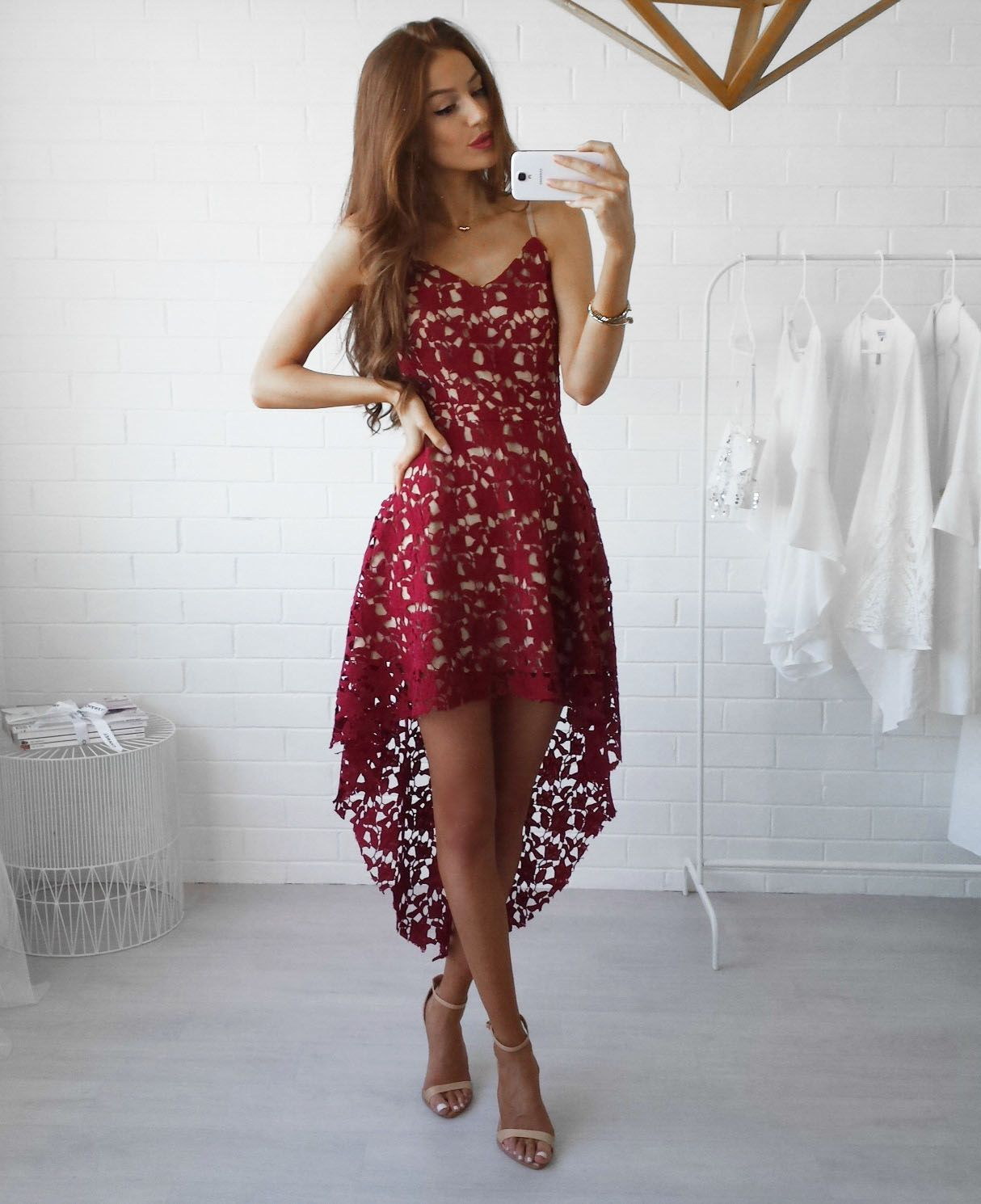 Casual Backless Sling Lace Embroidery Long Dress