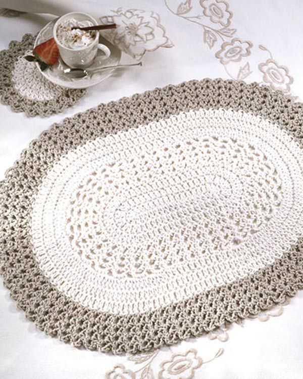 Free Oval Placemat & Coaster Crochet Pattern from RedHeart.com ...