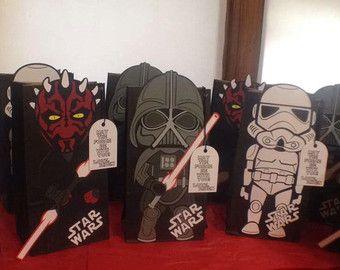 cf70cb99b Star Wars goody bolsas bolsas de Star Wars 10 por BehindTheTheme Detalles  De Cumpleaños, Bolsitas