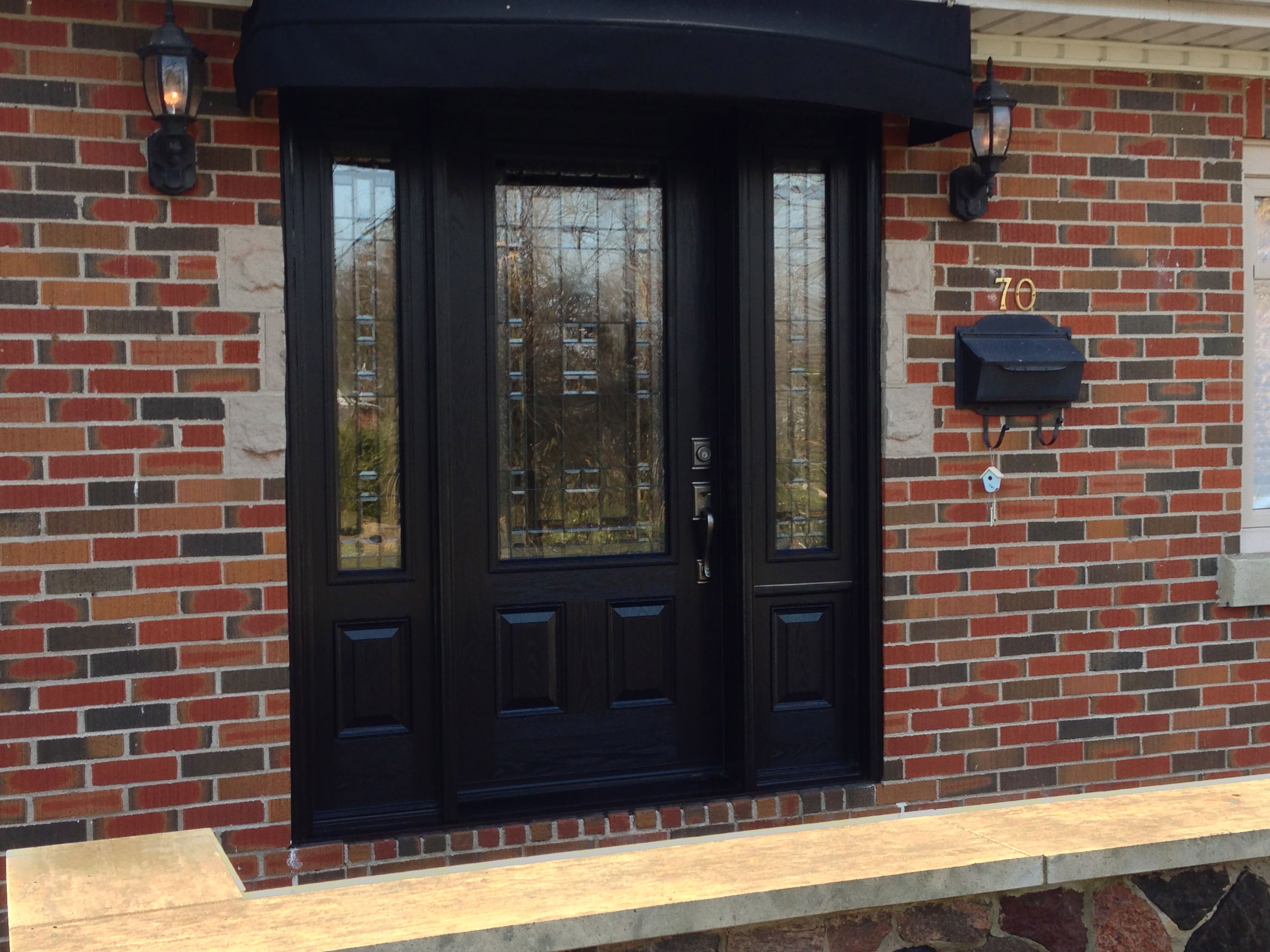 Furniture Exterior Black Wooden Door With Frosted Glass Insert