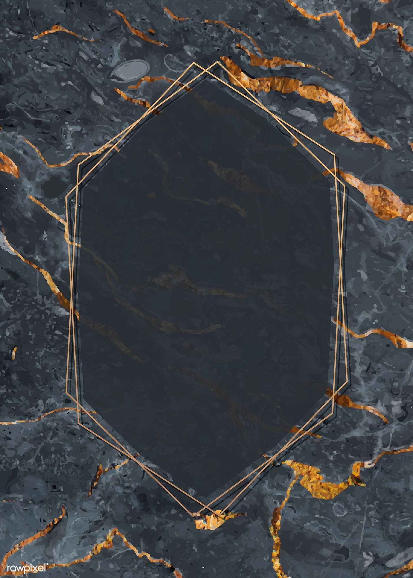 Download premium vector of Giolden hexagon frame on a marble textured