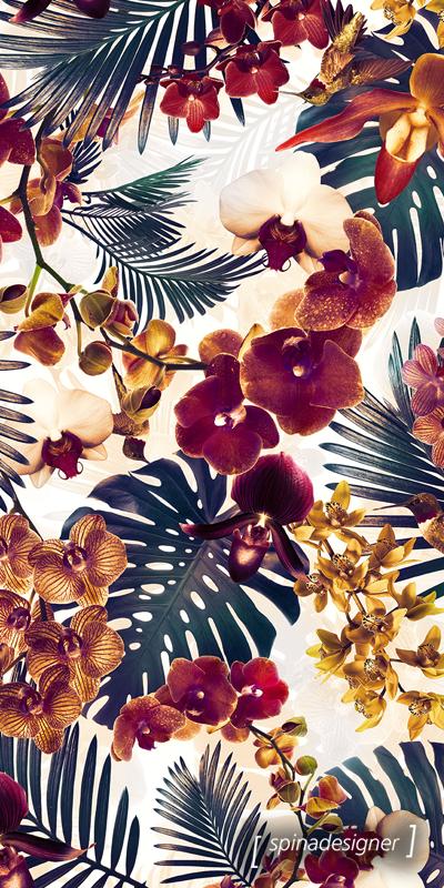 Motif Orchidee Feuilles De Palmier Et Couleurs D Automne