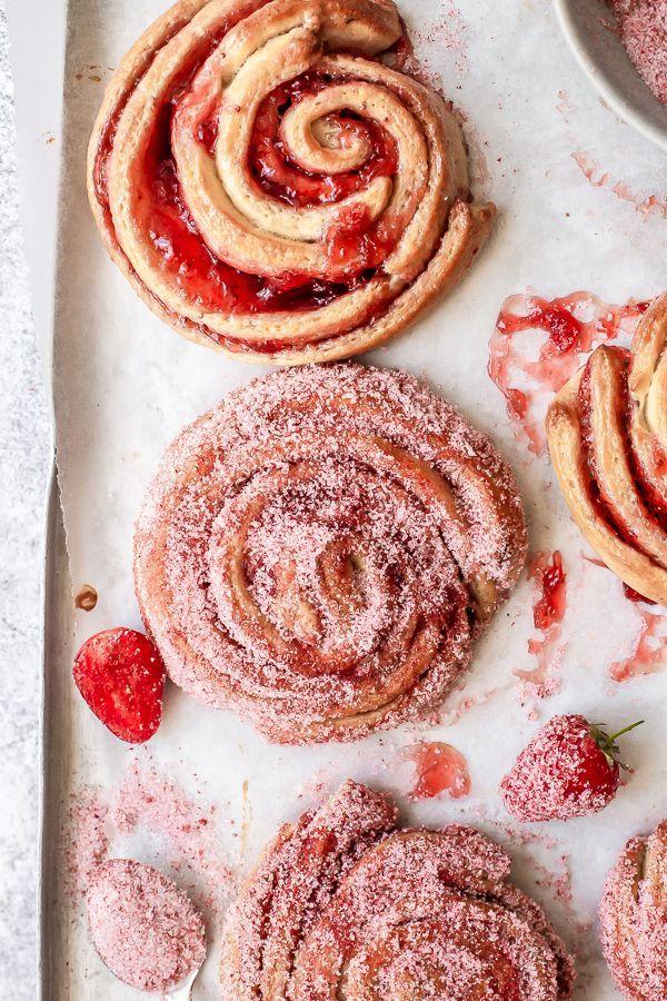 Photo of Strawberry Donut Brioche Scrolls – Emma Duckworth Bakes