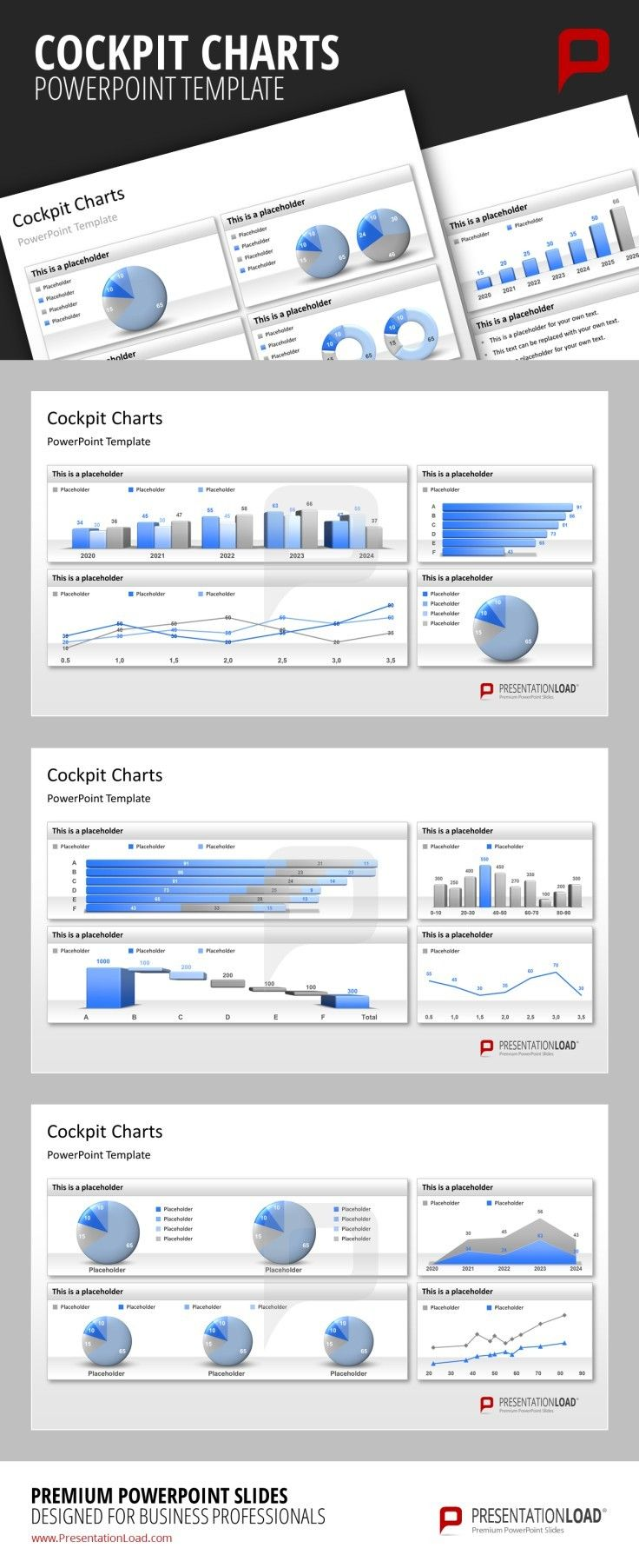 cockpit charts powerpoint templates use different combinations of, Modern powerpoint